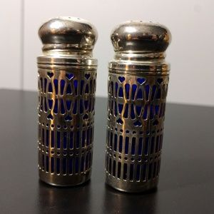 Vintage Godinger Silverplate Cobalt Salt & Pepper